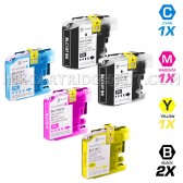 Brother Compatible LC107 and LC105 Set of 5 Ink Cartridges: 2 Black & 1 each of Cyan / Magenta / Yellow