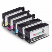 Replacement Set of 5 (HP 952XL High Yield) Ink Cartridges for Hewlett Packard - 2 Black + 1 Each Cyan, Magenta, Yellow