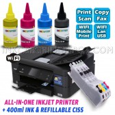 Continuous Ink Printer Bundle All-in-One Color Inkjet Printer