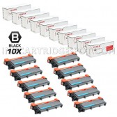Compatible Brother TN660 (TN-660) Combo Pack of 10 Black High Yield Laser Toner Cartridges