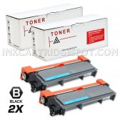 Compatible Brother TN660 (TN-660) Combo Pack of 2 Black High Yield Laser Toner Cartridges