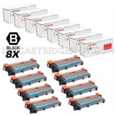 Compatible Brother TN660 (TN-660) Combo Pack of 8 Black High Yield Laser Toner Cartridges