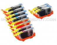 Canon PGI225 & CLI226 Compatible Set of 10 Ink Cartridges: 2 Pigment Black PGI-225, 2 each of CLI-226 B/C/M/Y