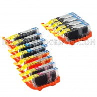 Canon PGI225 & CLI226 Compatible Set of 12 Ink Cartridges: 4 Pigment Black PGI-225, 2 each of CLI-226 B/C/M/Y