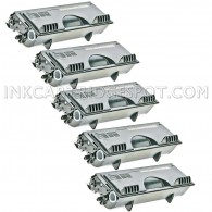 Compatible Brother TN460 Set of 5 Black Laser Toner Cartridges - 30000 Page Yield