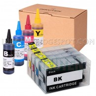 Refillable Cartridges for Canon PGI-1200 PGI1200 XL Pre-filled Auto Reset Chips (ARC) with 4x100ml Dye ink