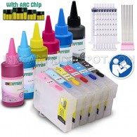 6 Easy-to-refill Cartridges With Resettable Chips for Epson Stylus Photo 1400 T079 with 6x100ml True Color Sublimation ink (for sublimation printing only)