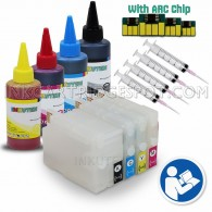 4 Refillable Cartridges for HP 932 HP 933 with 4x100ml Dye ink, Auto Reset Chips (ARC)