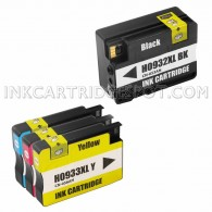 Replacement Set of 4 (HP 932XL and 933XL High Yield) Ink Cartridges - 1 Black + 1 Each Cyan, Magenta, Yellow