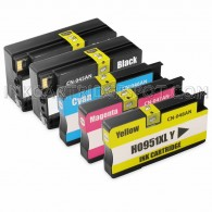 Replacement Set of 5 (HP 950XL and 951XL High Yield) Ink Cartridges for Hewlett Packard - 2 Black + 1 Each Cyan, Magenta, Yellow