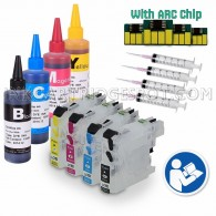 4 Refillable Cartridges for Brother LC101 LC103 LC105 LC107 with 4x100ml Dye ink, Auto Reset Chips (ARC)
