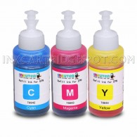 Set of 3 Refill Ecotank Ink Kit 70ml for Epson T6642 T6643 T6644 Cyan Magenta Yellow