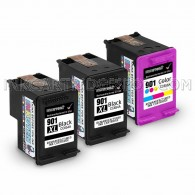 HP CC654AN (HP 901XL) and CC656AN (HP 901) Set of 3 Ink Cartridges: Includes 2 Black and 1 Color Cartridge