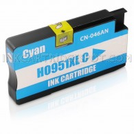 Replacement Ink Cartridge for Hewlett Packard CN046AN (951XL) High Yield Cyan - Shows Accurate Ink Levels - 1500 Page Yield