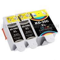 Kodak Compatible #30XL Set of 3 Ink Cartridges: 2 Pigment Black & 1 Color