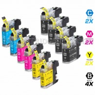 Compatible Brother LC103XL LC101 Set of 10 High Yield Ink Cartridges: 4 Black & 2 each of Cyan / Magenta / Yellow