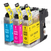 Compatible Brother LC103XL LC101 Set of 3 High Yield Ink Cartridges: 1 each of Cyan / Magenta / Yellow
