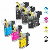 Compatible Brother LC103XL LC101 Set of 6 High Yield Ink Cartridges: 3 Black & 1 each of Cyan / Magenta / Yellow