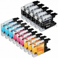 Compatible Brother LC75/LC71 Series (Combo Pack of 14) High Yield Inkjet Cartridges: 5 Black, 3 Cyan, 3 Magenta, 3 Yellow