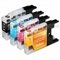 Compatible Brother LC75/LC71 Series (Combo Pack of 4) High Yield Inkjet Cartridges, 1 Black, 1 Cyan, 1 Magenta, 1 Yellow