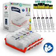 5 Refillable Cartridges EMPTY for Canon PGI-250 CLI-251 PGI 250 CLI 251 PGI-250XL CLI-251XL Auto Reset Chips (ARC)