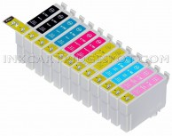 Compatible Epson T078 12 Pack Ink Cartridges: 2 Black & 2 of each Cyan/Magenta/Yellow/Light Cyan/Light Magenta