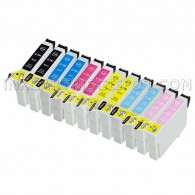 Epson Compatible T079 Set of 12 Ink Cartridges: 2 Black & 2 of each Cyan/Magenta/Yellow/Light Cyan/Light Magenta