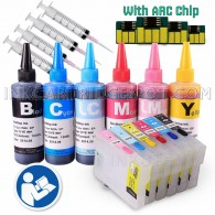 6 Refillable Cartridges for EPSON T079, T079XL, T79 with 4x100ml Dye ink, Auto Reset Chips (ARC) - for use in Epson stylus 1400 1410 1500w artisan 1430