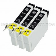 Compatible Ink Cartridge Replacement for EPSON T079 (T079120) (Black, 3-Pack)