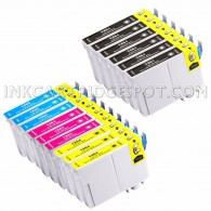 Replacement Epson T126 Set of 15 High Yield Ink Cartridges: 6 Black (T1261) & 3 Cyan (T1262), 3 Magenta (T1263), 3 Yellow (T1264)