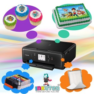 Edible Printer Bundle - Canon Cake Printer With 1 set of Edible Cartridges, 24 Frosting sheets Pack
