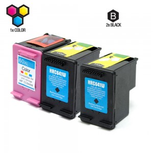 Compatible HP CC641WN (60XL) and CC644WN (HP 60XL) Set of 3 High Yield Ink Cartridges: Includes 2 Black and 1 Color Cartridge