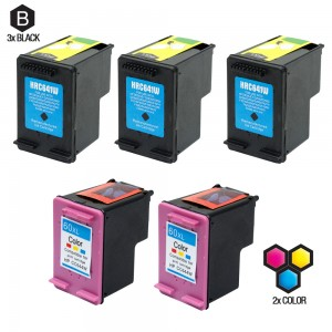 Compatible HP CC641WN (60XL) and CC644WN (HP 60XL) Set of 5 High Yield Ink Cartridges: Includes 3 Black and 2 Color Cartridge
