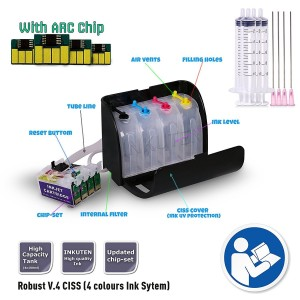 CISS Continuous Ink Supply System for Epson Workforce WF-3640 Printer (for Sublimation Ink, Heat Transfer Printing