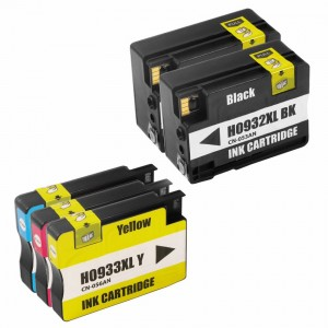 Replacement Set of 5 (HP 932XL and 933XL High Yield) Ink Cartridges - 2 Black + 1 Each Cyan, Magenta, Yellow