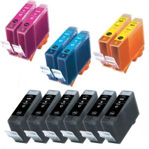 Canon Compatible BCI-3 Set of 15 Cartridges: 6 Black (BCI-3eBk), 3 Cyan (BCI-3eC), 3 Magenta (BCI-3eM), 3 Yellow (BCI-3eY)