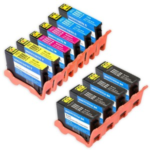 Compatible Set of 10 (Series 33/34) Extra High Yield Ink Cartridges for the Dell V525w & V725w Printers: 4 Black, 2 Cyan, 2 Magenta & 2 Yellow