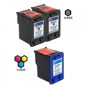 Compatible HP C6656AN HP 56 and C6657AN HP 57 Set of 3 Ink Cartridges: Includes 2 Black and 1 Color Cartridge