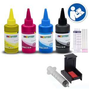 COMPLETE Refill Kit for HP 60 HP60XL Ink Cartridges, With 4x 100ml Premium dye Ink, Syringes/Needles, and Suction Priming Clip
