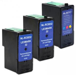 Lexmark 32 18C0032 & Lexmark 33 18C0033 Compatible Combo Pack - 2 Black & 1 Color Ink Cartridges