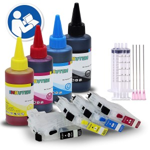 4 Refillable Cartridges for Brother LC3029 with 4x100ml Dye Ink