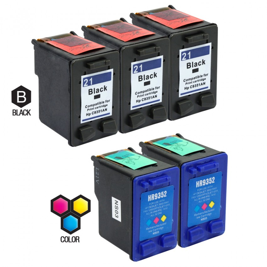 Compatible with HP 21 Black 22XL Color Ink Cartridge C9351AA F2235 F2100 2180 2280 370 Printer-2 Pcs