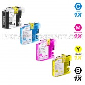 Brother Compatible LC107 and LC105 Set of 4 Ink Cartridges: 1 Black & 1 each of Cyan / Magenta / Yellow