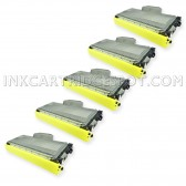 Compatible Brother TN-360 (TN360) Combo Pack of 5 Black High Yield Laser Toner Cartridges  - 13000 Page Yield