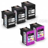 5 Pack Hp Deskjet 3752, 3 Black And 2 Tri-Color High Yield Ink Cartridges