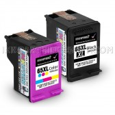 2 Pack Hp Deskjet 3730, 1 Black And 1 Tri-Color High Yield Ink Cartridges