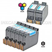 Compatible HP Set of 7 Ink Cartridges 5 Black HP 45 (51645A) and 2 Color HP 78 (C6578D)