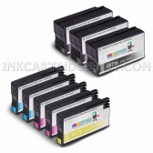 Compatible Replacement 9-Set High Yield Ink Cartridges for HP 952XL: 3 Black & 2 each of Cyan / Magenta / Yellow