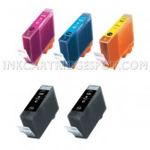 Canon Compatible BCI-3 Set of 5 Cartridges: 2 Black (BCI-3eBk), 1 Cyan (BCI-3eC), 1 Magenta (BCI-3eM), 1 Yellow (BCI-3eY)