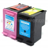 Compatible HP CC641WN (60XL) and CC644WN (60XL) Set of 2 High Yield Ink Cartridges: Includes 1 Black and 1 Color Cartridge